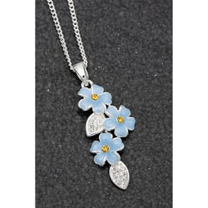 Equilibrium Forget Me Not Cascade Silver Plated Necklace