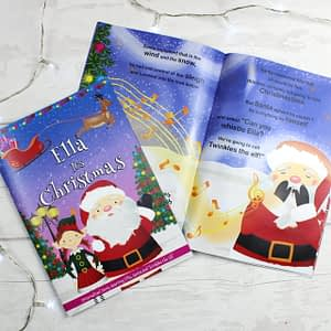 """Personalised Girls """"""""It's Christmas"""""""" Story Book, Featuring Santa and his Elf Twinkles"""