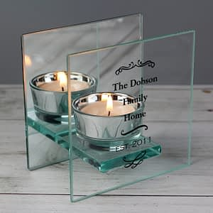Personalised Antique Scroll Mirrored Glass Tea Light Candle Holder