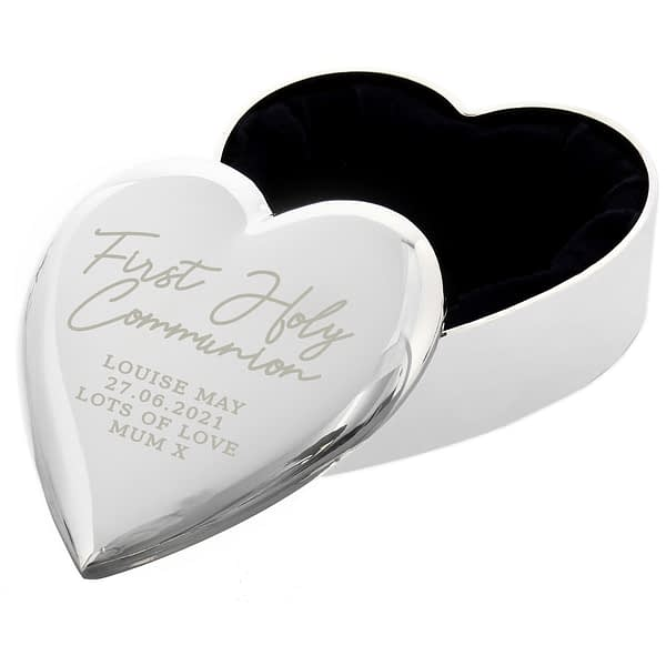 Personalised First Holy Communion Heart Trinket Box