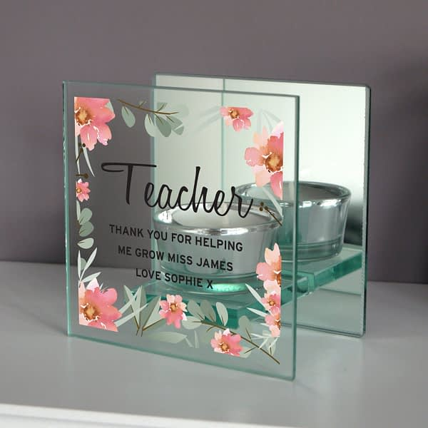 Personalised Floral Sentimental Mirrored Glass Tea Light Candle Holder