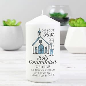 Personalised Boys First Holy Communion Pillar Candle