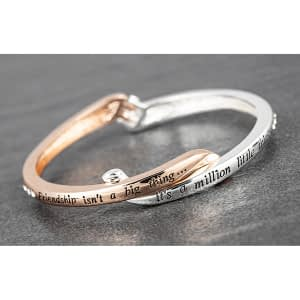 Crossover Silver Plated Rose Gold Plated Bangle Friendship