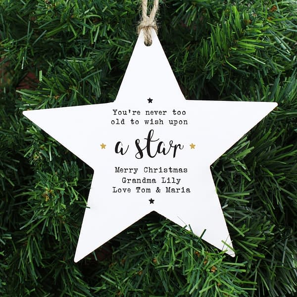 Personalised Wish Upon a Star Wooden Star Decoration
