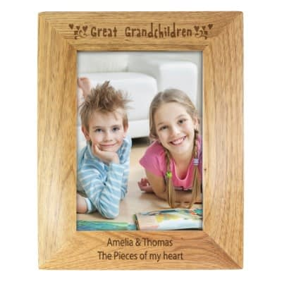 Personalised Great Grandchilden 7x5 Wooden Photo Frame