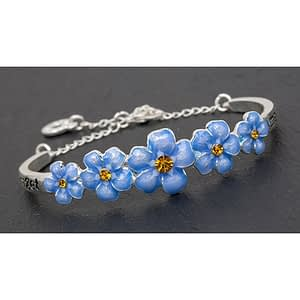 Equilibrium Silver Plated Forget Me Not Pretty Bangle