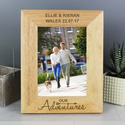 Personalised Our Adventures 7x5 Wooden Photo Frame