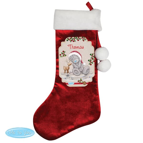 Personalised Me to You Reindeer Luxury Red Stocking