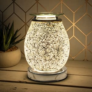 Desire Aroma Glass Lamp Mosaic Silver for Wax Melts / Essential oils