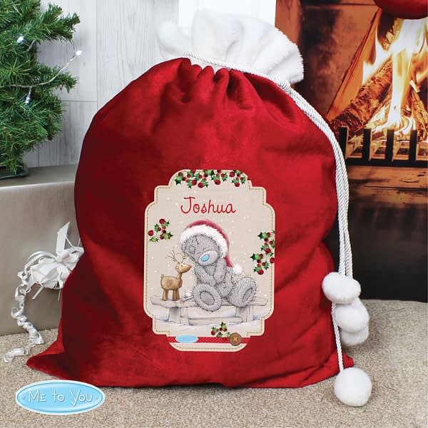Personalised Me to You Reindeer Luxury Pom Pom Red Sack