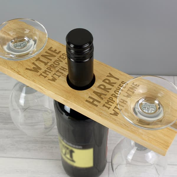 Personalised 'Improves With Wine' Wine Glass & Bottle Holder