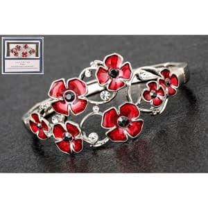 Equilibrium Oval Random silver plated Poppies Bracelet