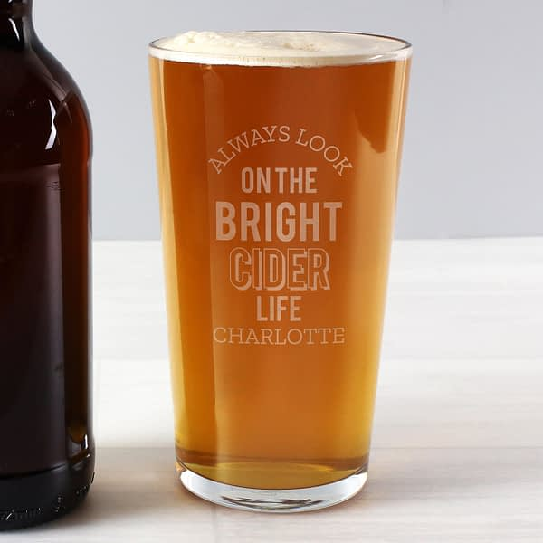 Personalised Always Look On The Bright Cider Life Pint Glass