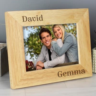 Personalised Couples 7x5 Landscape Wooden Photo Frame