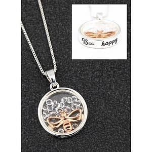 Equilibrium floating crystals Bee happy necklace