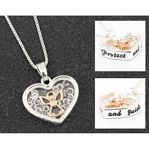 Equilibrium Moving Crystal Angel Necklace Protect and Guide