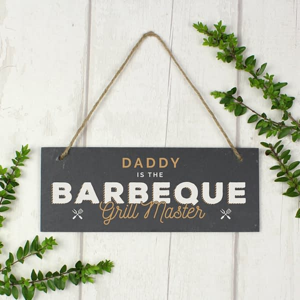 """Personalised """"""""Barbeque Grill Master"""""""" Printed Hanging Slate Plaque"""