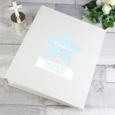 Personalised Stitch & Dot Baby Boy Album with Sleeves