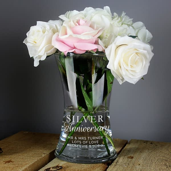 Personalised 'Silver Anniversary' Glass Vase