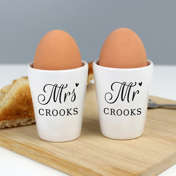 Personalised Mr & Mrs Egg Cups