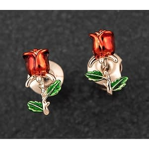 Single Red Rose Rose Gold Plated Earrings