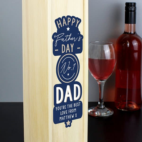 Personalised Happy Father's Day No. 1 Dad Wooden Wine Bottle Box