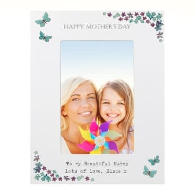 Personalised Forget Me Not 6x4 White Wooden Photo Frame