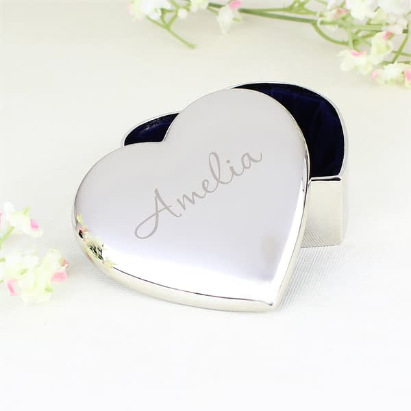 Personalised Name Only Heart Trinket Box