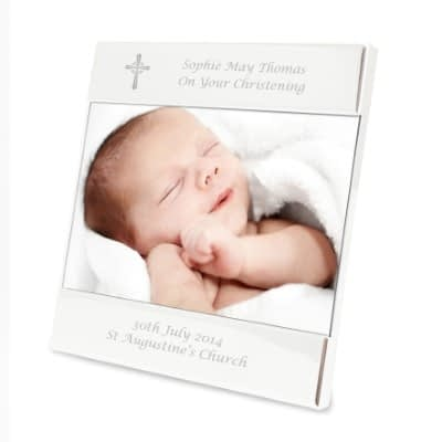 Personalised Silver Cross Square 6x4 Photo Frame