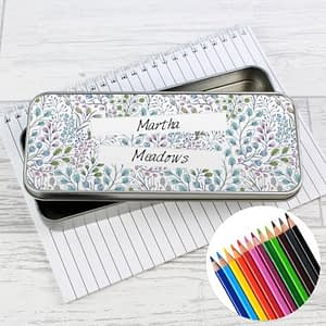 Personalised Botanical Pencil Tin with Pencil Crayons