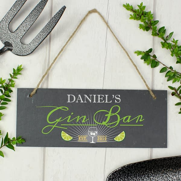 """Personalised """"""""Gin Bar"""""""" Printed Hanging Slate Plaque"""