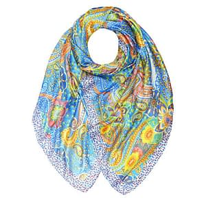 Silky Paisley Large Scarf BLUE
