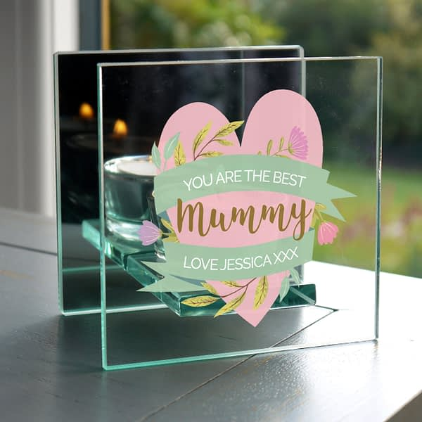 Personalised Floral Heart Mothers Day Mirrored Glass Tea Light Holder