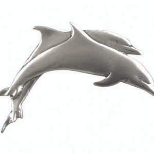 Pewter Double Dolphin Lapel Pin