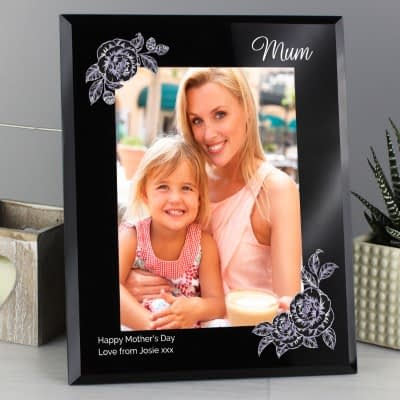 Personalised Rose Sketch 7x5 Black Glass Photo Frame