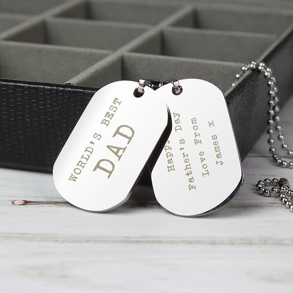 Personalised Free Text Steel Double Dog Tag Necklace
