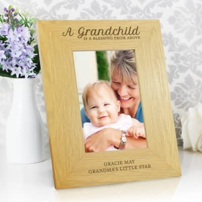 """Personalised """"""""A Grandchild Is A Blessing"""""""" 6x4 Oak Finish Photo Frame"""