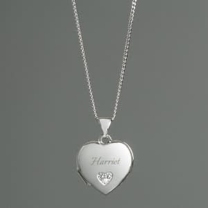 Personalised Children's Sterling Silver & Cubic Zirconia Heart Locket Necklace