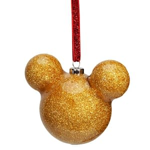 DISNEY MICKEY MOUSE GOLD GLITTER BAUBLE 6CM