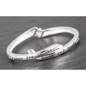 Crossover Silver Plated Bangle Love Moon