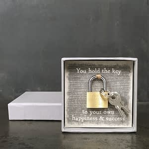 East of India Boxed Padlock-Key to happiness