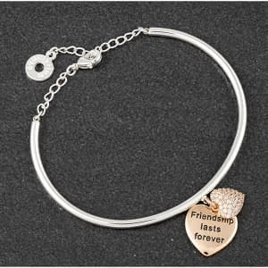 Equilibrium Hanging Heart Two Tone Bangle Friendship