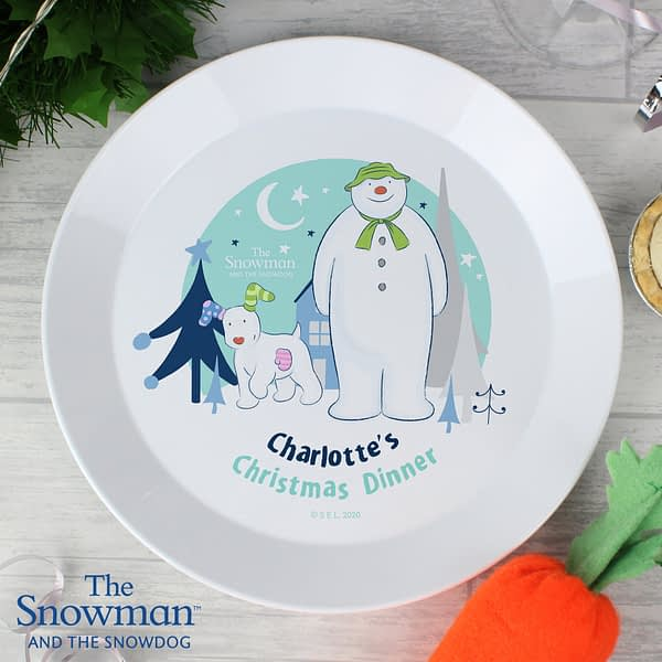 Personalised The Snowman and the Snowdog Plastic Plate