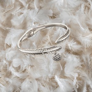 Equilibrium Guardian Angel Silver Plated Feather Bangle