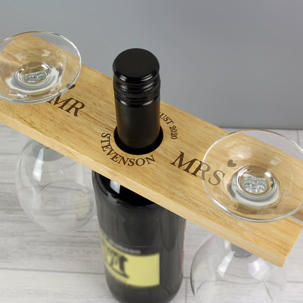 Personalised Married Couple Wine Glass & Bottle Butler