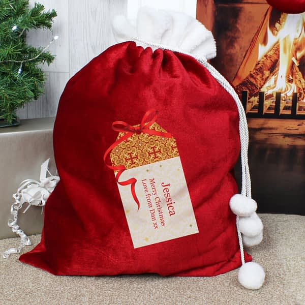 Personalised Gift Tag Luxury Pom Pom Red Sack