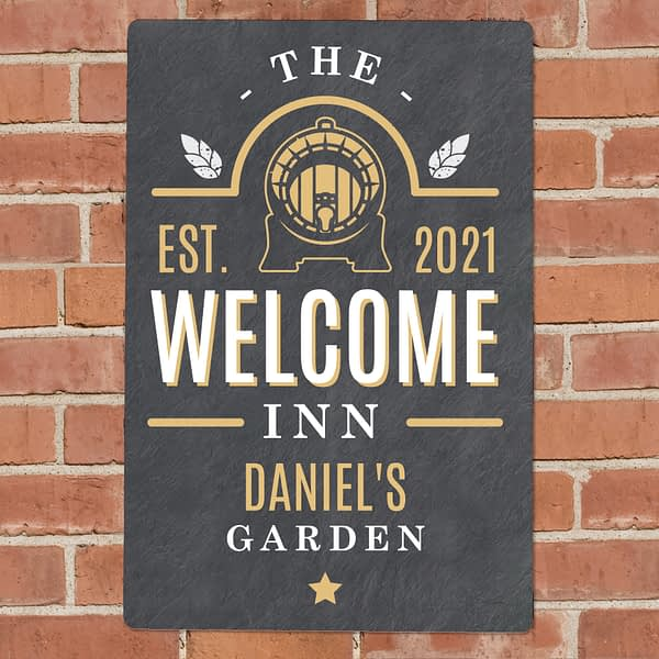 Personalised The Welcome Inn Metal Sign