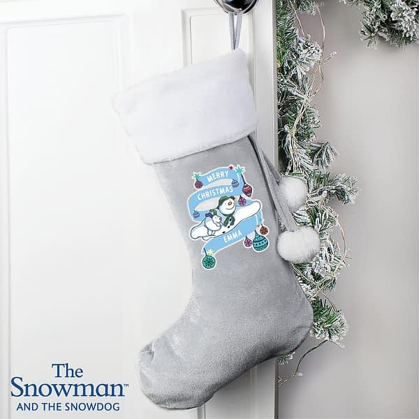 Personalised The Snowman and the Snowdog Luxury Silver Grey Stocking