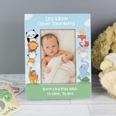 Personalised Baby Animals 6x4 Wooden Photo Frame