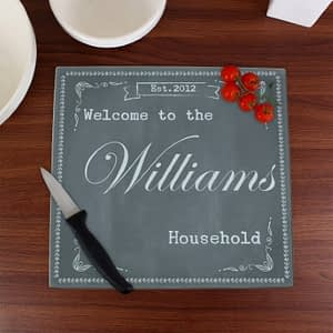Personalised Family Chalk Glass Chopping Board/Workshop Saver